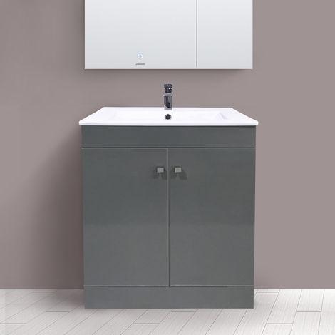 600mm 2 Door Gloss Grey Wash Basin Cabinet Floor Standing Vanity Sink Unit Bathroom Furniture