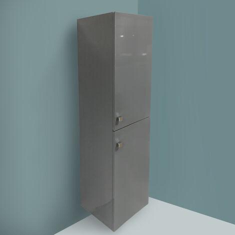 Gloss Grey 1400mm Tall Cupboard Wall Hung High Cabinet Bathroom Furniture with 2 Door