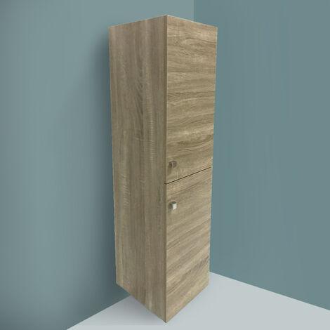 Grey Oak Effect 1200mm Tall Cupboard Wall Hung High Cabinet Bathroom Furniture with 2 Door