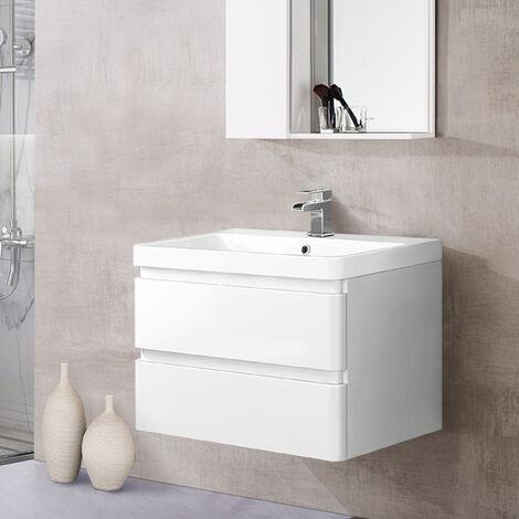 Wall Hung 2 Drawer Vanity Unit Basin Bathroom Storage Furniture 800mm Gloss White