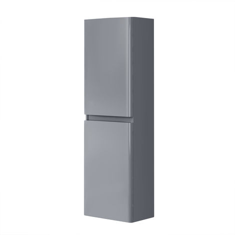 1400mm Tall Bathroom Storage Cabinet Cupboard Wall Hung Soft Close Furniture Unit Gloss Grey