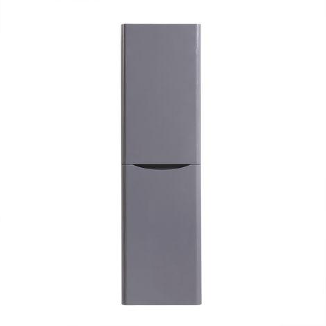 1400mm Gloss Grey Tall Cupboard Storage Cabinet Bathroom Furniture - Left Hand