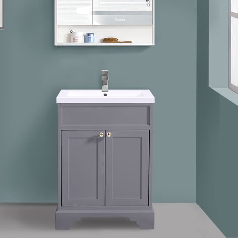 600mm Grey Traditional Floor Standing Bathroom Furniture Vanity Sink Unit Storage Cabinet with Basin