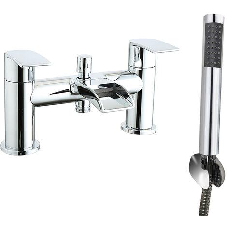 Waterfall Bath Shower Mixer Tap Chrome Hand Held Shower Head