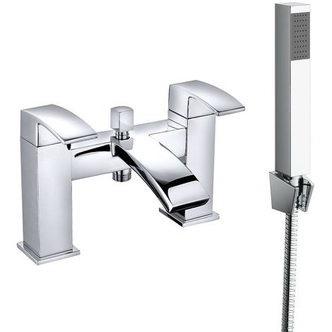 Square Bath Shower Mixer Tap Chrome and Hand Held Shower Head