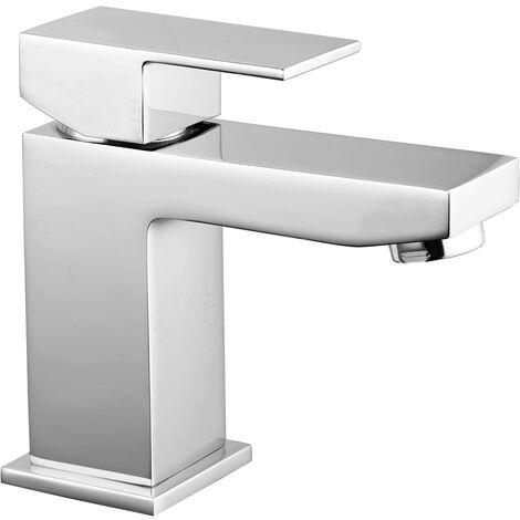 Square Basin Sink Mixer Tap Modern Chrome Bathroom Faucet