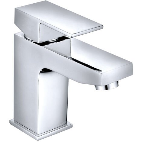 Bathroom Basin Sink Mixer Tap Square Chrome Lever Faucet