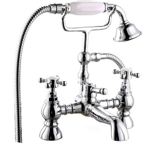 Traditional Bath Shower Filler Mixer Tap & Bathroom Shower Head Set Chrome Brass