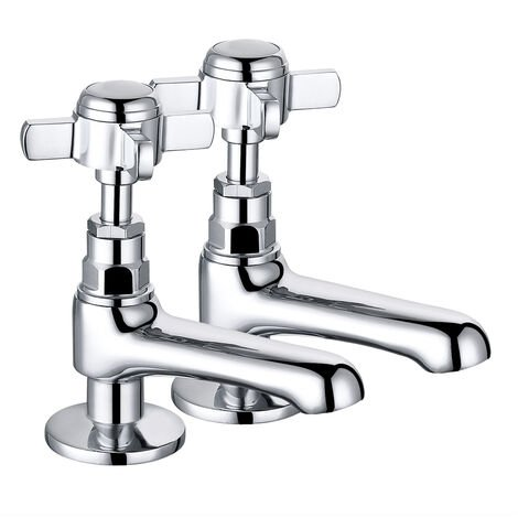 Traditional Bathroom Twin Hot & Cold Basin Sink Taps Cross Handle Vintage Faucets