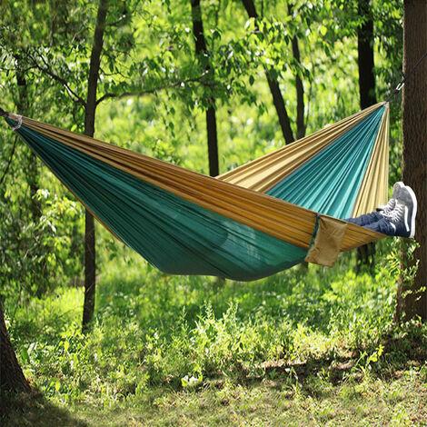 Outdoor Garden Camping Hammock Hiking Swing Sleeping Bed Green&Yellow
