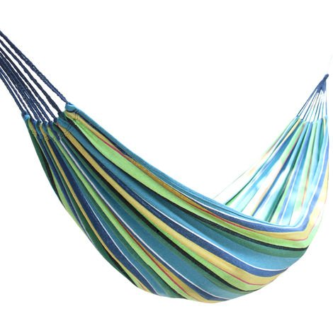 Outdoor 2 Person Canvas Hammock Garden Yard Beach Travel Camping Swing Hang Bed with Carry Bag 200x150cm Multi-Blue