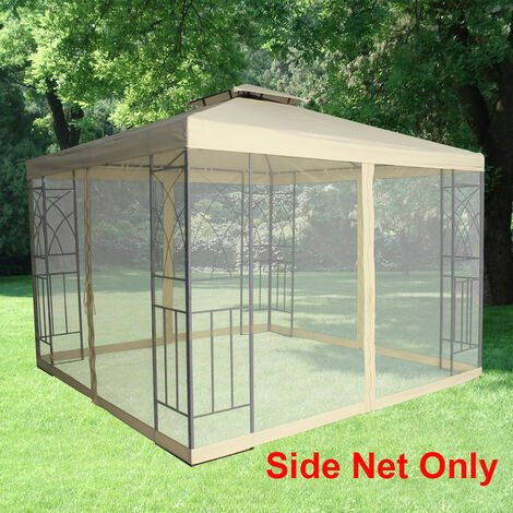 Pavilion Gazebo Side Net Marquee Fly Screen Gathering Mosquito Netting Washable Removable Ivory(Side Net Only)