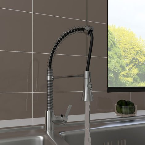 Chrome Single Lever Tap Kitchen Sink Mixer Faucet with Pull Out Spray Swivel Spout