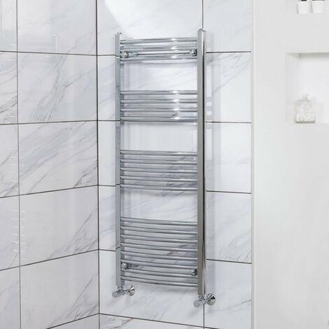 Curved Heated Towel Rail Radiator Bathroom Central Heating Ladder Warmer Rad 1200x500mm Chrome