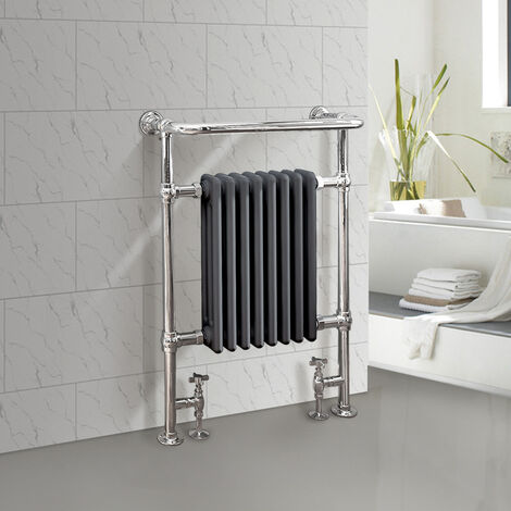 Traditional Bathroom Heated Towel Rail Column Radiator Cast Iron Rad Anthracite & Chrome 952x659 mm