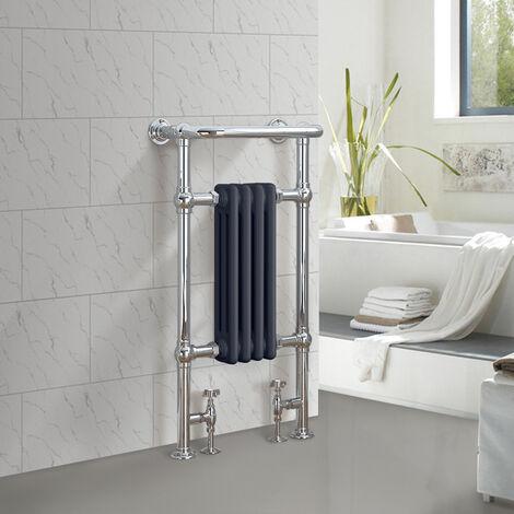 Traditional Bathroom Heated Towel Rail Column Radiator Cast Iron Rad Anthracite & Chrome 952x479 mm