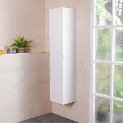 1600mm White Wall Mounted Left Hand Tall Bathroom Storage Unit