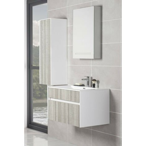 Vanity Unit Furniture Suite Wall Hung Tall Cabinet + Wall Mounted Vanity Basin Unit