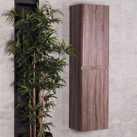 Oak 1500mm Wall Hung Tall Bathroom Cupboard Storage Unit Furniture