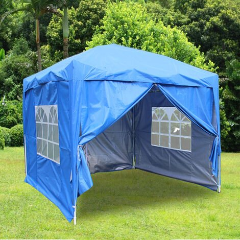 Greenbay Garden Pop Up Gazebo Party Tent Canopy With 4 Sidewalls and Carrying Bag Blue 2.5x2.5M