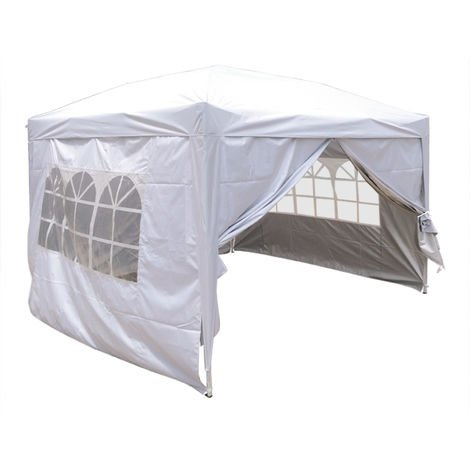 Greenbay Garden Pop Up Gazebo Party Tent Canopy With 4 Sidewalls and Carrying Bag White 3x3M