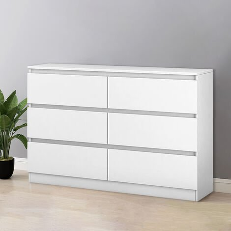 NRG Chest of 6 Drawers White Storage Drawers Bedroom Furniture 120x30x77cm