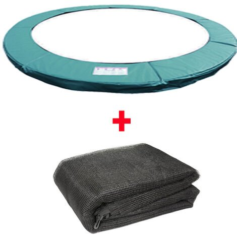Greenbay Trampoline Replacement Spring Cover Padding Pad & Safety Net Enclosure Surround Bundle 10FT Green for 6 poles Trampoline