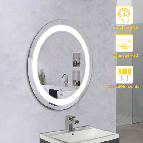 NRG Bathroom Round Mirror Illuminated LED Wall-Mounted Mirrors with Cool White Light Touch Control Demister Pad 590x590mm