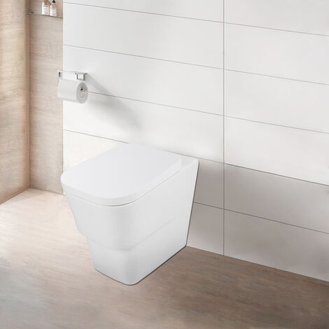 NRG Modern Bathroom Back to Wall Toilet Short Projection Pan Soft Closing UF Seat White