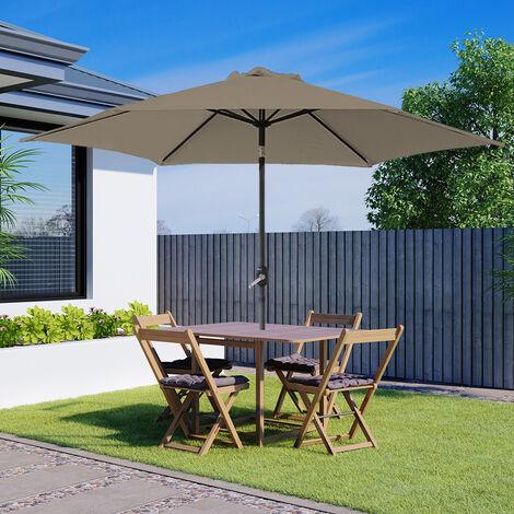 Greenbay Round Aluminium Garden Parasol Sun Shade Patio Outdoor Umbrella Canopy Crank Tilt Mechanism 2.5M Brown