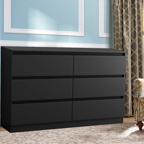 NRG Chest of 6 Drawers Black Storage Drawers Bedroom Furniture 120x30x77cm