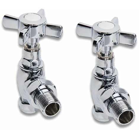 NRG Chrome Towel Radiator Rail Valves Angle Central Heating Taps with Crosshead Handles (Pair)