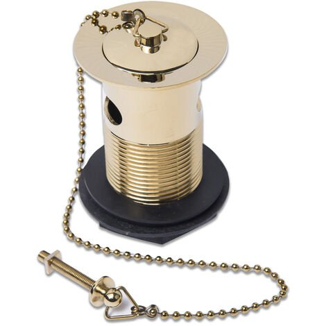 NRG Bathroom Gold Slotted Waste with Basin Sink Plug and Chain