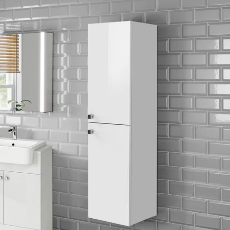 NRG 1200mm White Bathroom Furniture Storage Cabinet Wall Mounted Tall Unit