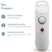 Oil Filled Radiator 6 Fin 800W Mini Electric Portable Heater W/ Thermostat White
