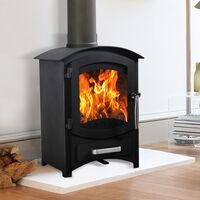 Lincsfire Wellingore 6.22KW Modern Log Burner MultiFuel Wood Burning Stove WoodBurner Woodburning Fireplace