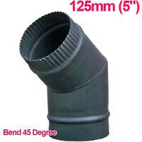 "Lincsfire 5"" 45 Degree Bend Steel Flue Pipe Chimney for Wood Log Burning Multifuel Stove"