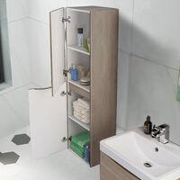 1400mm Light Oak Effect Tall Cupboard Storage Cabinet Bathroom Furniture - Left Hand