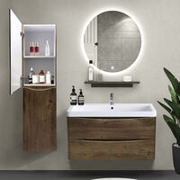 1400mm Grey Oak Effect Tall Cupboard Storage Cabinet Bathroom Furniture - Left Hand