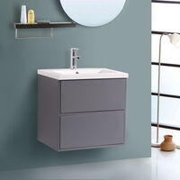 600mm Grey Modern Wall Hung Bathroom Furniture Vanity Unit Storage Cabinet with Basin