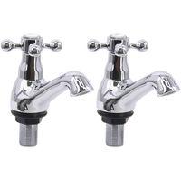 Traditional Basin Mixer Tap Vintage Chrome Twin Cross Handle Bathroom Faucet
