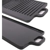 Griddle Pan Cast Iron Reversible Grill Plate Enamel Rectangular Pan 50 x 23cm