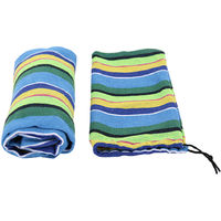 Outdoor Canvas Hammock Garden Yard Beach Travel Camping Swing Hang Bed with Carry Bag 200x80cm Multi-Blue