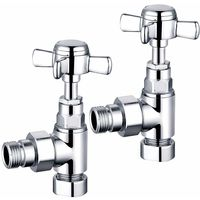 Traditional Towel Radiator Rail Valves Angled Chrome Central Heating Taps 15mm (Pair)