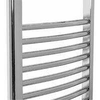 Bathroom Electric Heated Towel Rail 700 x 400 Curved Thermostatic 150W Chrome