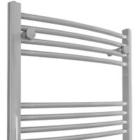 Bathroom Electric Heated Towel Rail 1600 x 600 Curved Manual 700W Chrome