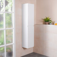 1600mm White Wall Mounted Right Hand Tall Bathroom Storage Unit
