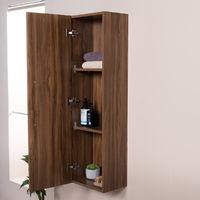 Walnut 1200mm Wall Hung Tall Bathroom Storage Unit Furniture