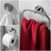 Bathroom Accessory Wall Mount Set Towel Ring + Toilet Roll Holder + Robe Hook Kit Chrome 3 PCS