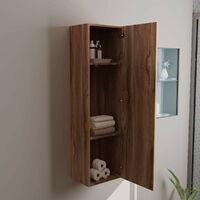 1200mm Walnut Wall Mounted Tall Bathroom Cupboard Storage Unit